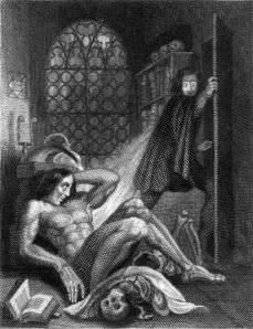 Frontispiece to Frankenstein by Mary Shelley (revised edition from 1831 of the novel first published in 1818)