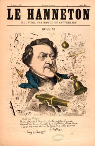 H. Mailly's caricature of Rossini for Le Hanneton (1867)