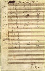 Beethoven's working MS for the opening measures of his Fifth Symphony