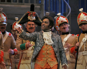 Lawrence Brownlee as Almaviva in Barber, one of his signature roles; photo by Ken Howard