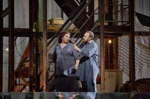 Christine Goerke as the Dyer's wife) and Johan Reuter as Barak; photo by Ken Howard