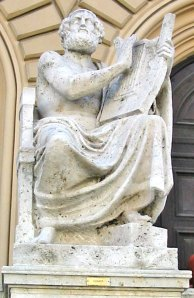 Statue of Homer at the Bavarian State Library in Munich; photo by J. Williams