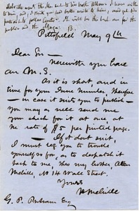 MS submission cover letter by Herman Melville: 9 May 1854