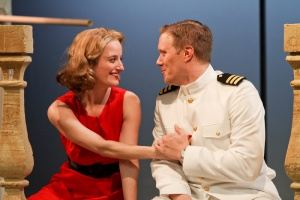 Jennifer Lee Taylor as Beatrice and Matt Shimkus as Benedick; photo by John Ulman