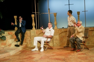 Justin Huertas as Balthasar, Jim Gall as Don Pedro, Jay Myers as Claudio, and Peter A. Jacobs as Leonato; photo by John Ulman.