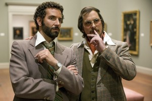 Bradley Cooper and a donut diet-fattened Christian Bale in American Hustle