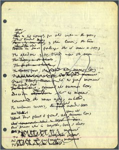 "Draft of a page from Yeats's ""Sailing to Byzantium"""