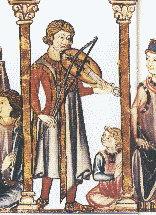 Vielle player from the Cantigas de Santa Maria, c. 1300
