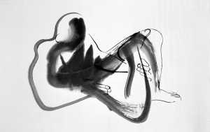 Isamu Noguchi. Peking Drawing (man reclining), 1930. Ink on paper. The Noguchi Museum.