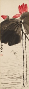 Qi Baishi. Lotus and Dragonfly, 20th century. Hanging scroll, ink and color on paper. Michael Gallis  Collection. Photo: Dennis Nodine