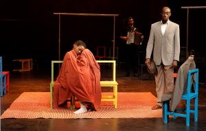 l to r: Nonhlanhla Kheswa, Rikki Henry, Raphaël Chambouvet, and Ivanno Jeremiah, in Peter Brook's The Suit. Photo: Pascal Victor, ArtcomArt.