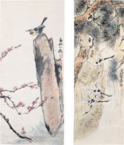 left: Teng Baiye, Bird on Rock, before 1949. Ink and paper mounted on scroll. Collection Bao Mingxin right: Teng Baiye, Cranes and Pine Tree, before 1949. Ink and paper mounted on scroll. Collection Bao Mingxin.