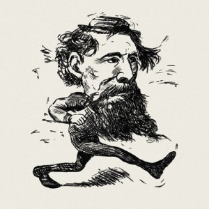 Charles Dickens, by a Boston Daily Advertiser cartoonist (March 1868)