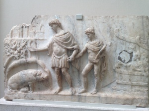 Aeneas, his son Ascanius, and the prophecy of the white sow (British Museum)