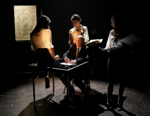 Greta Wilson, Sara Mountjoy-Pepka, Sydney Andrews, and Darragh Kennan in The Trial; photo credit: Chris Bennion/New Century Theatre Company